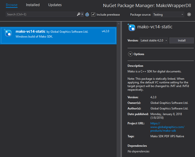 Adding the NuGet package to the project